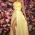 A-Line Halter Sweep Train Yellow Tulle Split Prom Dress with Beading Pleats