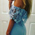Mermaid Off-the-Shoulder Sweep Train Blue Stretch Satin Split Prom Dress with