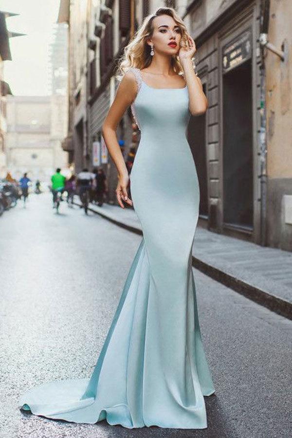 Mermaid Scoop Sweep Train Light Blue Stretch Satin Backless Beaded Prom Dress