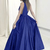 A-Line Deep V-Neck Sweep Train Royal Blue Satin Sleeveless Prom Dress N2668