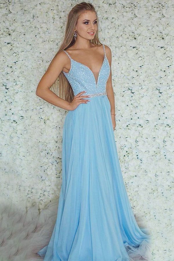 A-Line Deep V-Neck Sweep Train Blue Tulle Sleeveless Prom Dress with Beading
