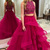 Two Piece Jewel Sweep Train Dark Red Tulle Prom Dress with Beading Ruffles F5825