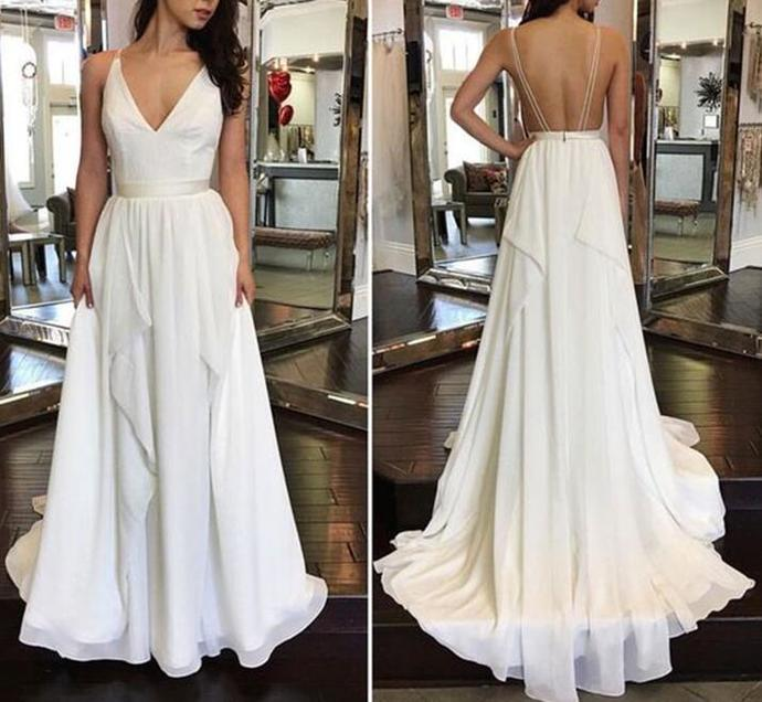 White Chiffon V-Neck Prom Dress A Line Long Prom Party Gowns .Formal Evening