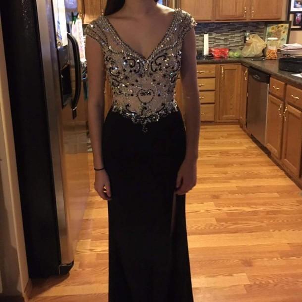 Sexy V-Neck Crystal Corset Long Prom Dress Black Beaded Sheath Formal Evening