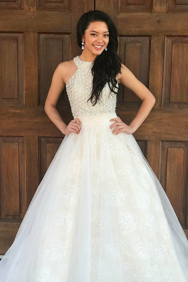 A-Line Crew Sweep Train White Tulle Sleeveless Prom Dress with Beading Lace