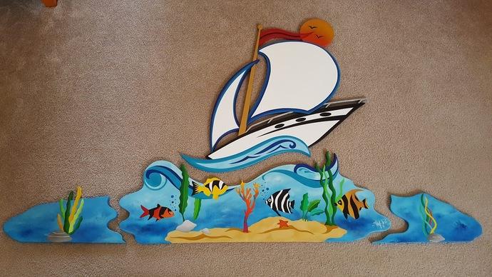 4 Piece Handmade Nautical Sailboat Ocean and Fish Themed Wood Wall Art, Wall