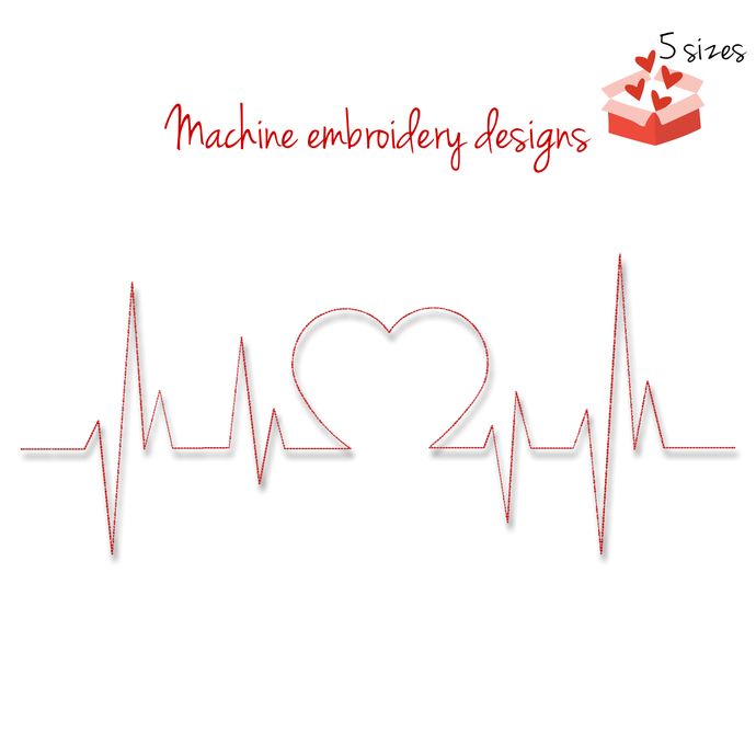 Machine Embroidery Design heartbeat line designs cardio outline digital instant