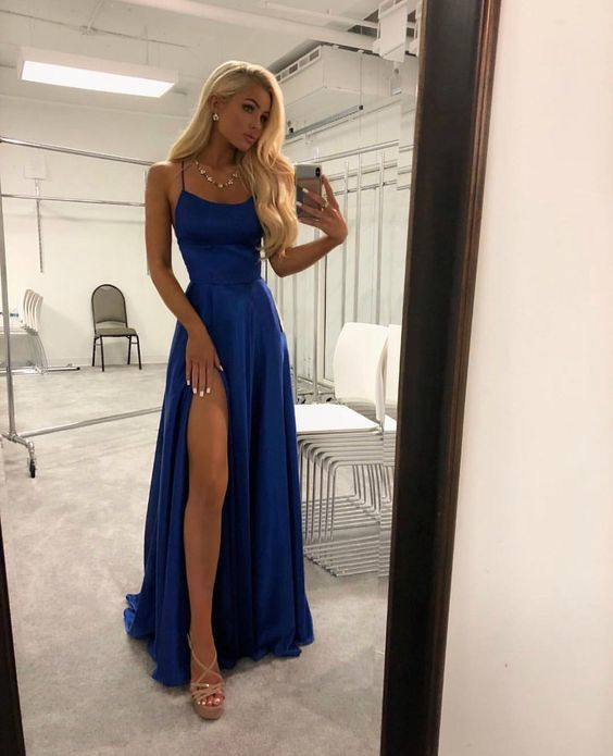 Sexy Backless Royal Blue Satin Long Prom Dress A Line Women Prom Gowns ,Formal
