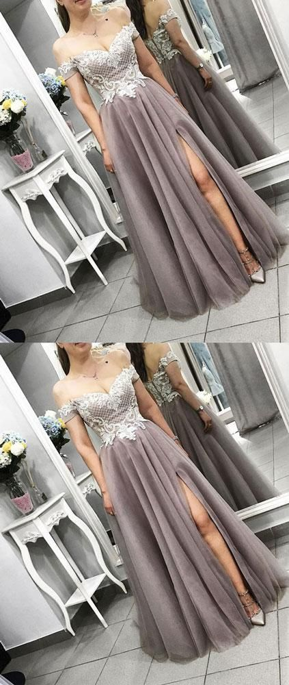 Cheap Floor Length Lace Prom Dress Gray Tulle Formal Evening Dress,Sexy Cheap