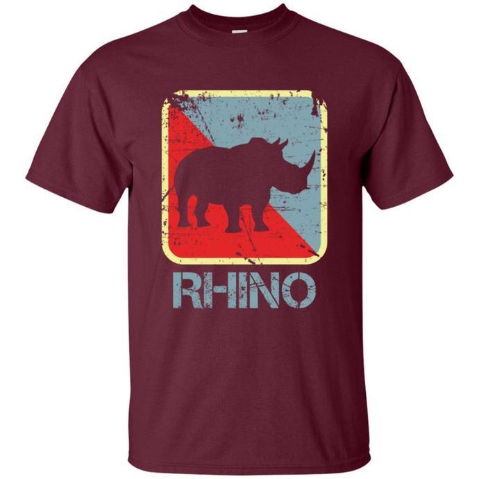 Retro Rhino Endangered Leather Family Men T-shirt, Vintage Rhino T-shirt, Rhino