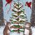 Woodland Friends Decorating the Christmas Tree Cat Folk Art Print 8x10, 11x14