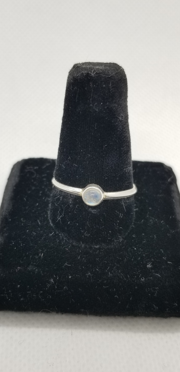 Moonstone Stackable Sterling Ring  Size 10