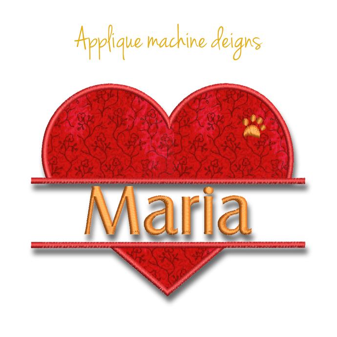 Split heart embroidery machine design paw monogram applique digital instant