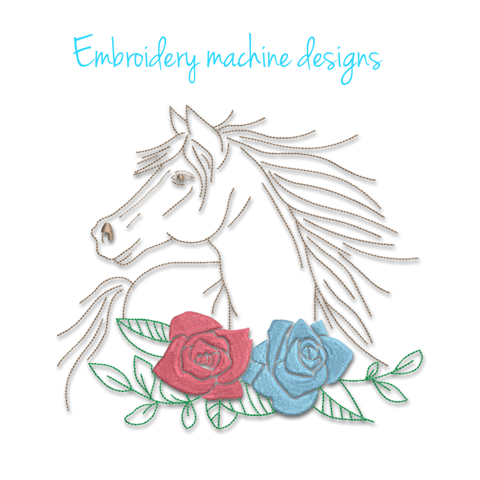 Horse Embroidery Machine Design Roses flowers pes file animal digital instant