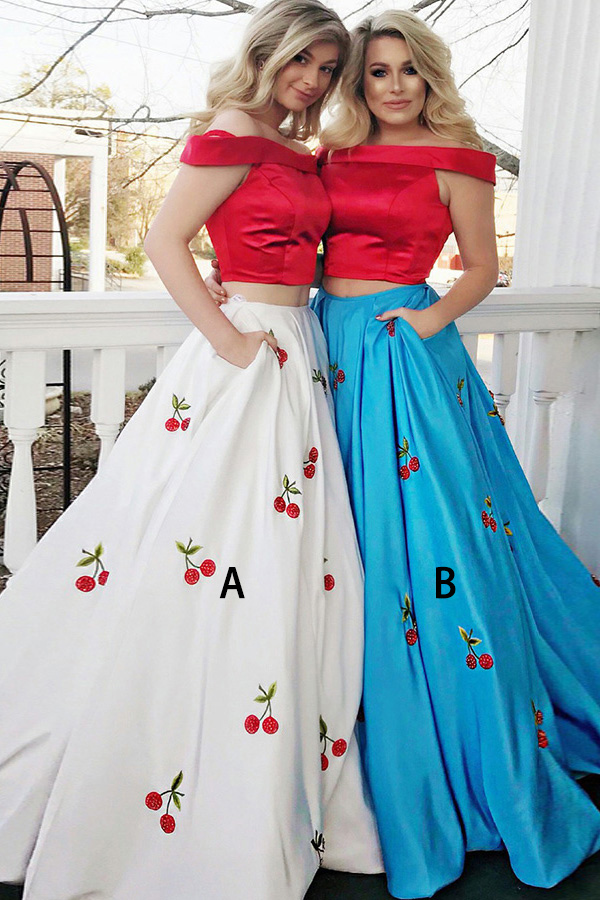 Two Piece Off-the-Shoulder Sweep Train White Satin Sleeveless Prom Dress with