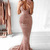 Mermaid Deep V-Neck Sweep Train Pink Sequined Sleeveless Backless Prom Dress