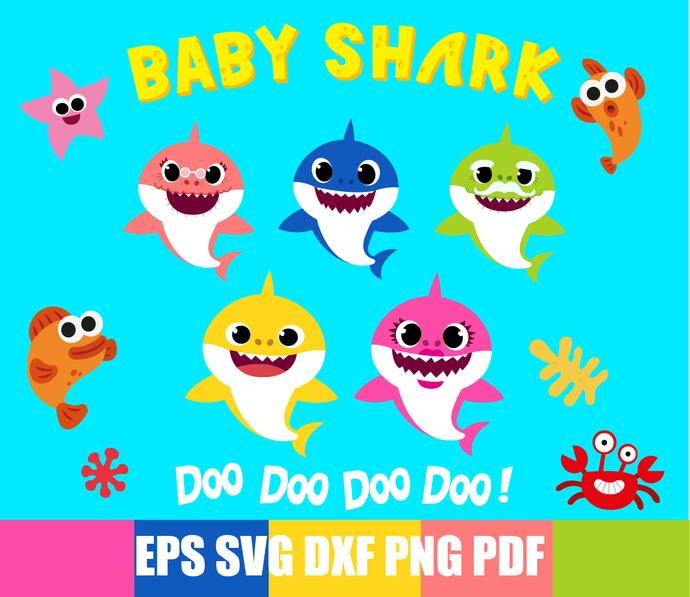 Baby Shark Svg, Shark Family Svg, Daddy Shark, Mommy Shark, Shark Grandma, Shark