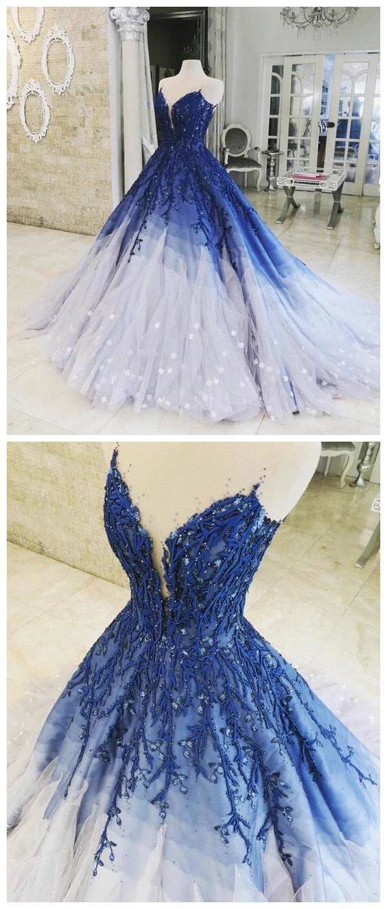 5d64ff8cc4 A Line Ombre Prom Dress With Applique Royal Blue By Ainiprom On Zibbet