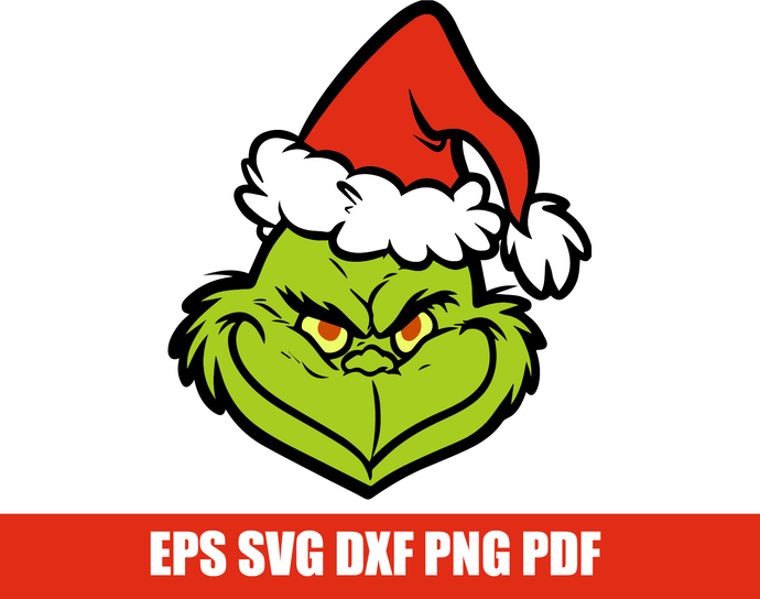 The grinch SVG, The grinch face cutfile, Grinch head svg, Layered grinch  svg, eps, dxf, png. Christmas svg, grinch clipart file for cutting