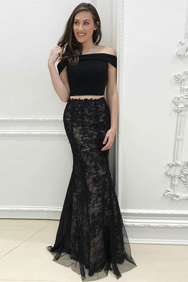 Two Piece Off-the-Shoulder Sweep Train Black Tulle Prom Dress with Appliques