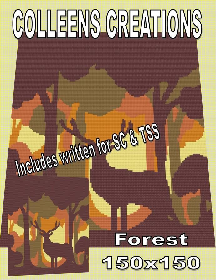 Forest Crochet Written & Graph Design
