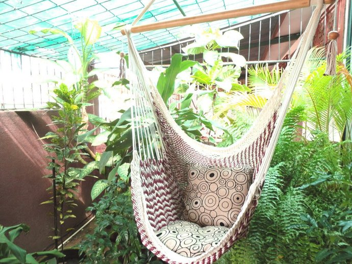 Red Wine and White Bulico Sitting Hammock, Hanging Chair Natural Cotton and Wood
