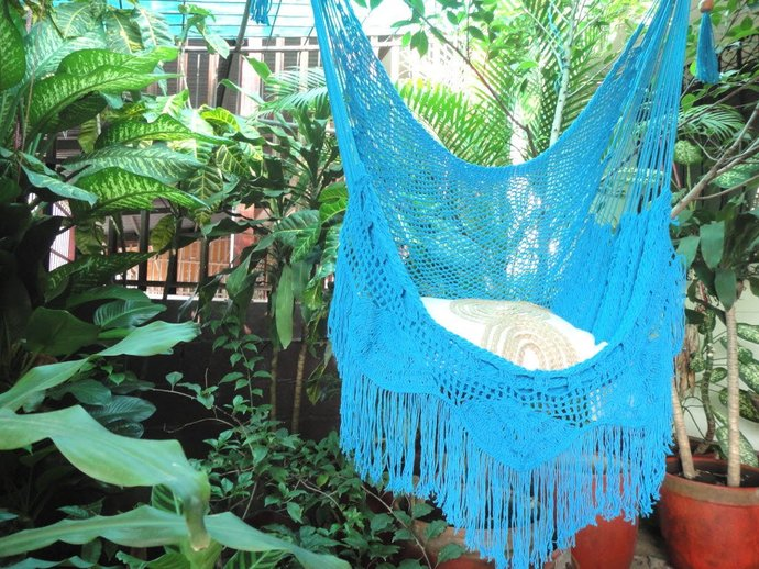 Turquoise Sitting Hammock with Fringe and Loose Threads, Hanging Chair Natural
