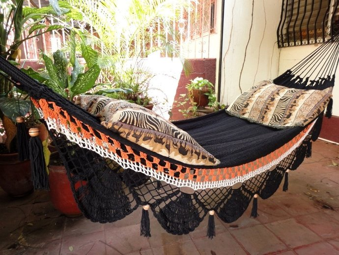 Black two lines Hammock, Hand Woven Natural Cotton with Special Fringe