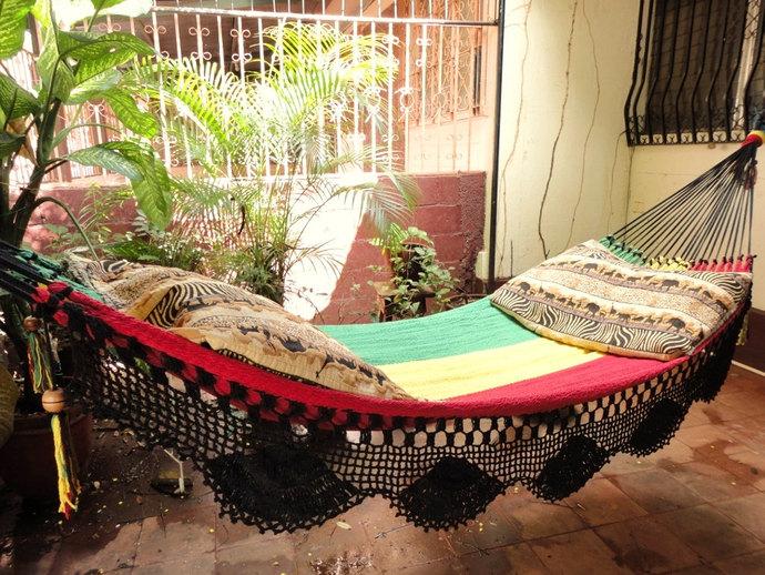 Rastafari Colors One, Single Hammock hand-woven Natural Cotton Simple Fringe