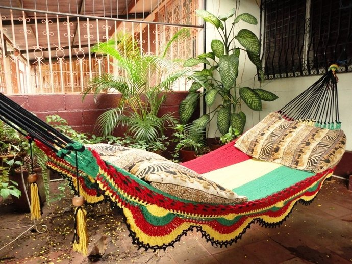 Rastafari Colors Two, Single Hammock hand-woven Natural Cotton Simple Fringe