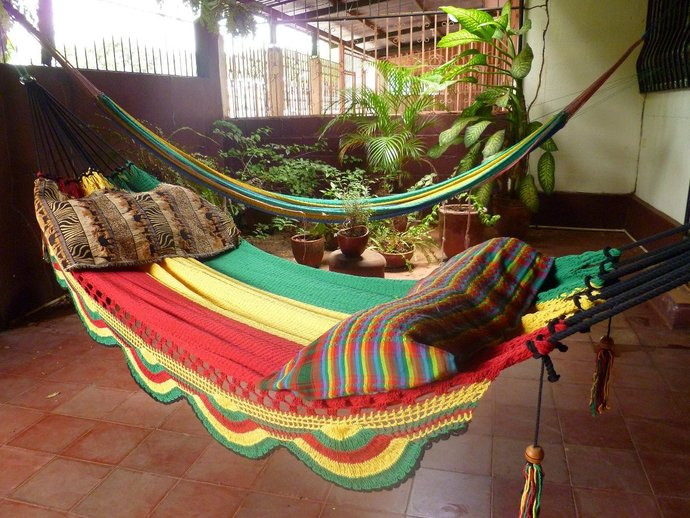 Rastafari Colors Two, Double Hammock hand-woven Natural Cotton Simple Fringe
