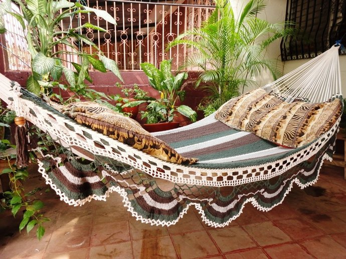 Dark Colors Jumbo Size Hammock hand-woven Natural Cotton Special Fringe without