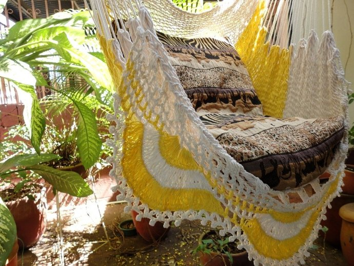Beige and yellow Sitting Hammock with Fringe, Hanging Chair Natural Cotton and