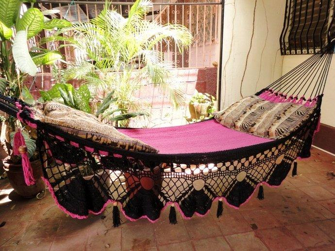Beautiful Two Colors Fuchsia-Black Double Hammock handmade Natural Cotton