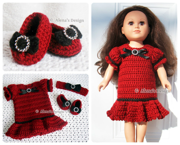 Crochet Pattern 3 PC Set 18 in Doll Crochet Patterns Holiday Doll Outfit for