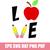 Love school Teacher SVG, love school apple pencil svg, back to school svg,