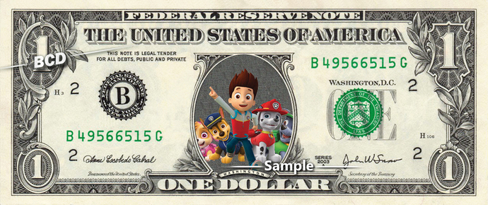 PAW PATROL on a REAL Dollar Bill Cash by Vincent-the-Artist on Zibbet