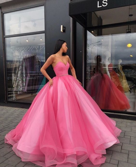 Charming Sweetheart Tulle Ball Gown Prom Dress, Sexy Quinceanera Dresses