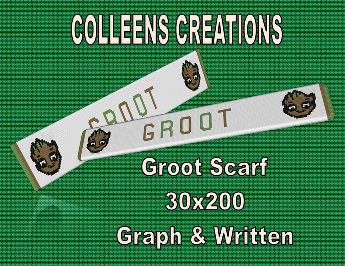 Groot Scarf Crochet Written & Graph Design