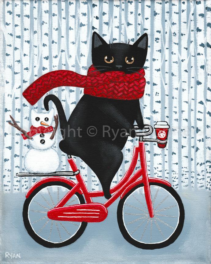 Winter and Coffee Bicycle Ride Original Black Cat Folk Art Painting