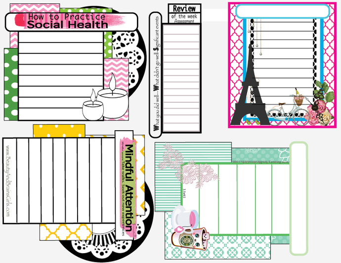 Shabby ChicSmall Journaling Cards Food Journaling-Week in Review- Bullet