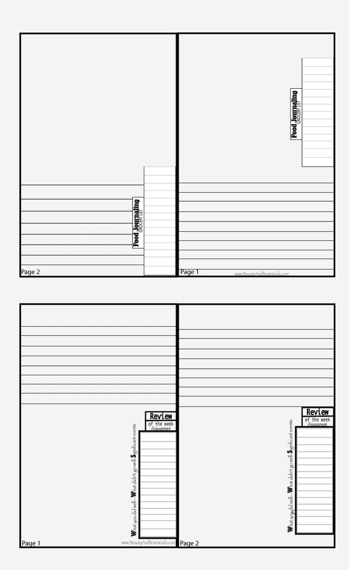 Free Journal Printable Layout Beauty and Brains Girls