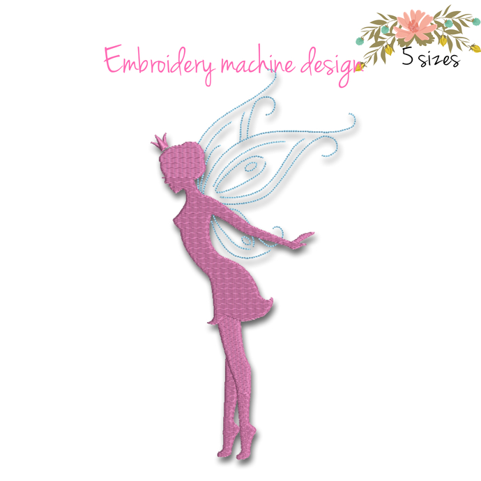 Fairy embroidery machine designs pixie instant digital download pattern pes