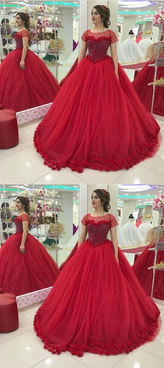 a3145bc9f2b Ball Gown Bateau Red Tulle Quinceanera Dress by MeetBeauty on Zibbet