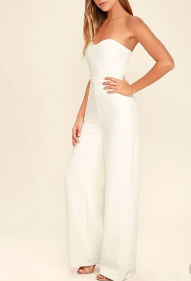 Pop Life White Strapless Jumpsuit BD2192