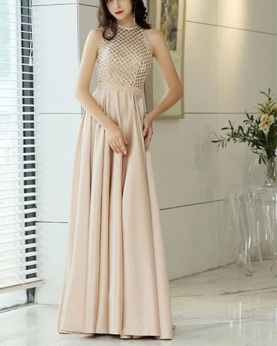 ea6f4d54788 Champagne Beading Girls Prom Dresses Long by PrettyLady on Zibbet