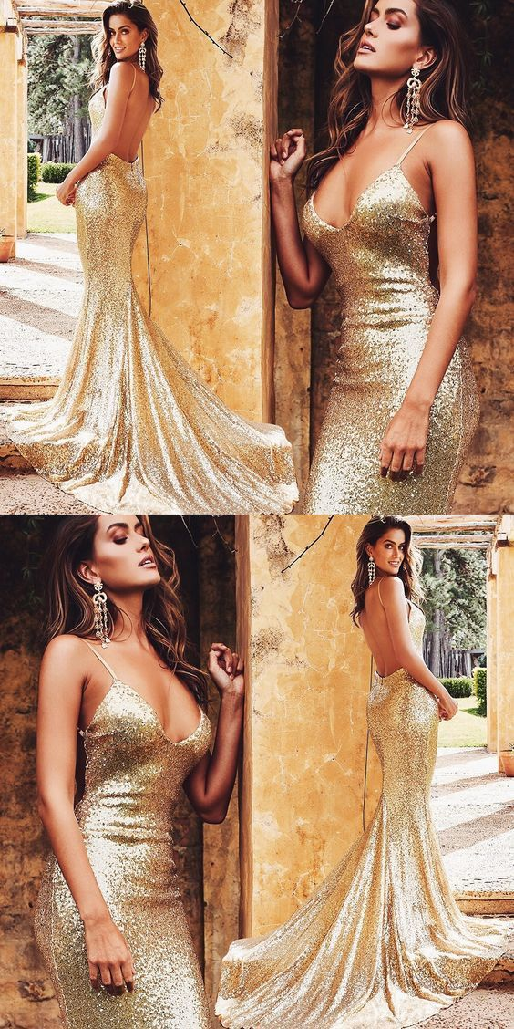 Bling Gold Sequin Sexy Backless Mermaid Prom Dress, Sexy Women Prom Dress, Long