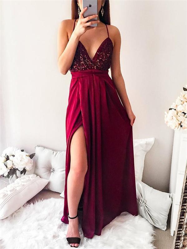 Sexy Spaghetti Sequin Top Prom Dresses Side Slit Prom Dresses Long Prom Dresse