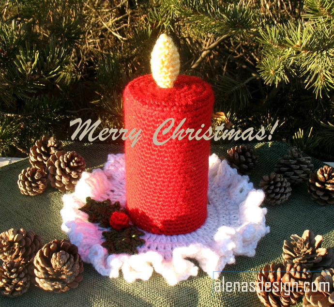 Crochet Christmas Candle Crochet Pattern 217 Candle with Flame Crochet Patterns