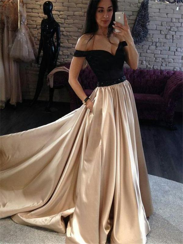 Off Shoulder A-line Prom Dresses Satin Prom Dresses Long Prom Dresses Cheap Prom